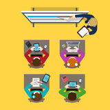 Business Training vector flat concept: teacher coach students Royalty Free Stock Photography
