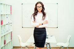 Business training. Business woman making a presentation at the office royalty free stock images