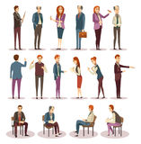 Business Trainings And Coaching Icons Set. With consultants and learners in various positions isolated vector illustration Royalty Free Stock Photo