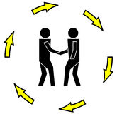 Business transaction. Two illustrated persons fix a deal or business transaction royalty free illustration