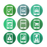 Business transaction icons using mobile phone Royalty Free Stock Image