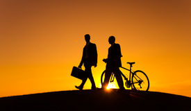 Business Transport with Bicycle in Sunset Royalty Free Stock Image