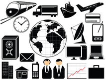 Business and transport icons stock illustration
