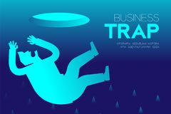Business Trap Design horizontal set, Businessman fall into a trap concept idea. Illustration isolated on blue gradient background, and Business Trap text with Stock Photo