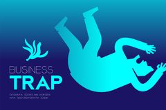 Business Trap Design horizontal set, Businessman falling by banana peel. Concept idea illustration isolated on blue gradient background, and Business Trap text Royalty Free Stock Photography