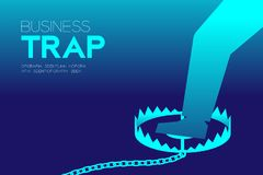 Business Trap Design horizontal set, Businessman trapped concept. Idea illustration isolated on blue gradient background, and Business Trap text with copy space vector illustration