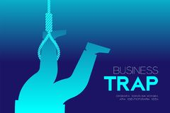 Business Trap Design horizontal set, Businessman trapped by lasso Stock Images