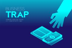 Business Trap Design horizontal set, Businessman trapped by mousetrap. Concept idea illustration isolated on blue gradient background, and Business Trap text Royalty Free Stock Photography