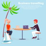 Business Travaling Poster Vector Illustration. Business traveling poster vector illustration with man and woman sitting at table with laptops, cute ship and palm Stock Images