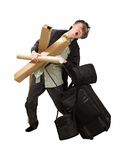 Passenger overload travel baggage to carry on flig Stock Images