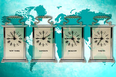 Business travel. Concept. Timezone clocks showing different time Royalty Free Stock Images
