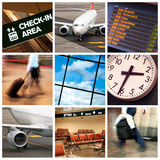 Business travel. A collage of photos about business travel in airplane Royalty Free Stock Photo
