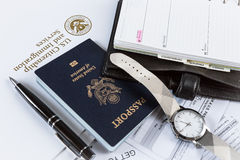 Business Travel with American Passport Stock Images