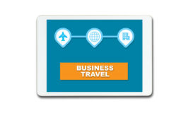 Business Travel Application on white Tablet Royalty Free Stock Images