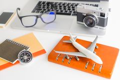 Business Travel Blogger object high angle objects Royalty Free Stock Photography