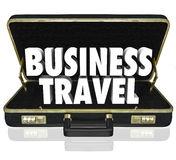 Business Travel Briefcase Words Important Meeting. Business Travel words in a black leather briefcase to illustrate going from one place to another to conduct Royalty Free Stock Images