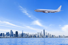 Business Travel. With Chicago Skyline Royalty Free Stock Images