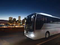 Bus on the road at night with city landscape. 3D rendering Royalty Free Stock Photo