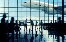 Business Travel Handshake Communter Terminal Airport Concept Stock Photo