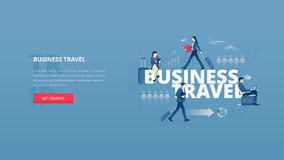 Business travel hero banner. Vector illustrative hero banner of business trip. Business travel hero website header with young men and women characters around Stock Illustration