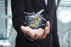 Business travel insurance and Insurance agent with protective. Gesture and icon of plane and globe. concept banner Royalty Free Stock Photos