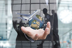 Business travel insurance and Insurance agent with protective Stock Image