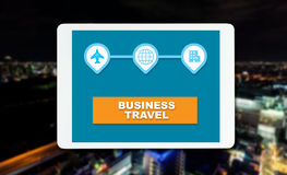 Business travel on ngiht city background. Concept Royalty Free Stock Photography