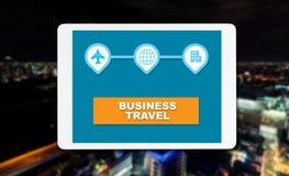 Business travel on ngiht city background royalty free stock photography