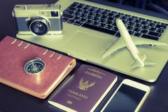Business Travel objects with Laptop computer. Passport Royalty Free Stock Image