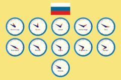 Business travel, Russia time zones  Stock Photos