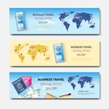 Business Travel Special Offer Set Of Template Horizontal Banners, Tourism Agency Seasonal Sale Posters Design. Vector Illustration vector illustration