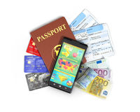 Business travel and tourism concept: air tickets,. Passport, smartphone and credit cards  on white Stock Photos