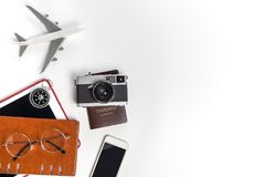 Business travel and transportation objects on white copy space. Background royalty free stock photos