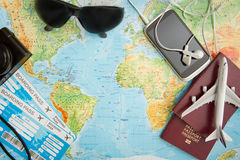 Business travel traveling map world concept. stock images