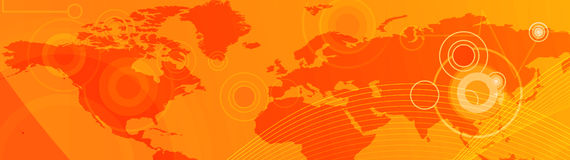 Business and Travel Web header. Website header / banner. Technology, travel, world map, digitally generated illustration for web site headers Royalty Free Stock Photography