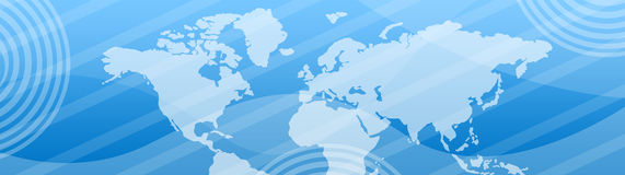 Business and Travel Web header. Website header / banner. Technology and travel with world map, digitally generated illustration for web site headers Stock Photos