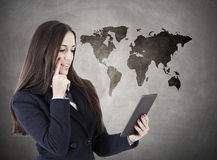 Business travel. Business woman with travel map Stock Photo