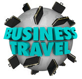 Business Travel Words Briefcases Around World Royalty Free Stock Photography