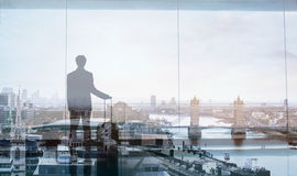 Business traveler, double exposure Stock Photo