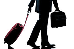 Business traveler man with handbag and  suitcase Stock Photo