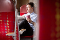 Business traveler on train Royalty Free Stock Photography