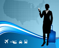 Business Traveler with United States map.  Stock Photo