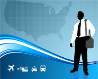 Business traveler on US map background Stock Images
