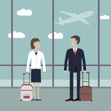 Business Travelers in the Airport Royalty Free Stock Photography