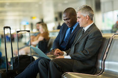 Business travelers laptop Royalty Free Stock Photos
