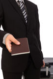 Business traveling pulling suitcase Stock Photo