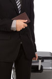 Business traveling pulling suitcase Royalty Free Stock Image