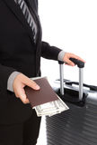 Business traveling pulling suitcase Royalty Free Stock Photos