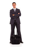 Business traveller. Smart business traveller full length portrait on white Royalty Free Stock Photography