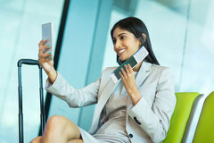 Business traveller taking selfie Royalty Free Stock Photos